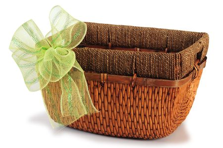 gift basket: Empty basket. Stock Photo