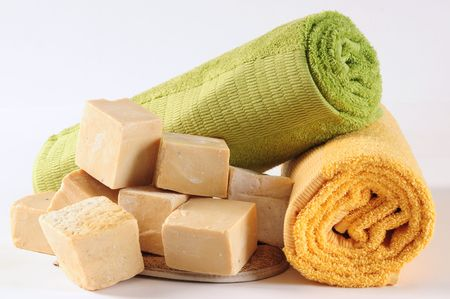 antibacterial soap: Ancient soap with towels.