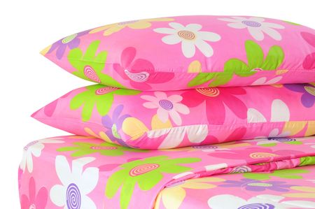 pillow case: Floral bed set. Stock Photo