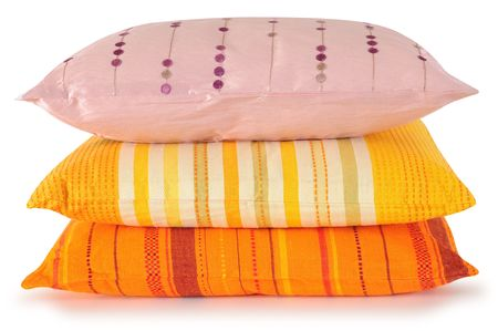 overlapped: Three colorful pillows Stock Photo