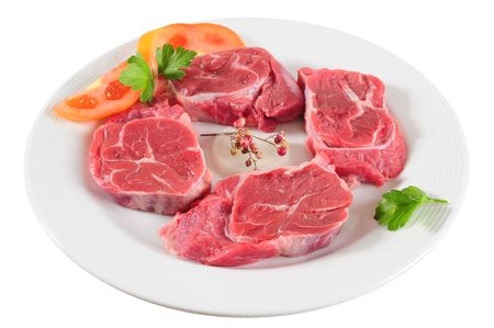 Raw meat on plate photo