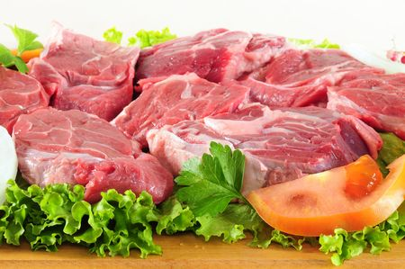 Raw meat and vegetable