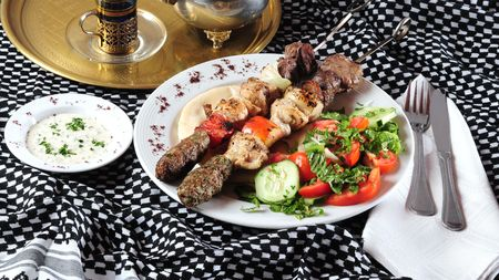 Mixed shish kebab. photo