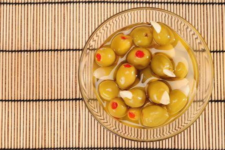 Stuffed olives with almond. photo