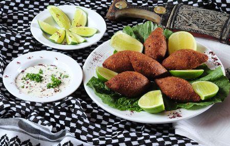 arabian food: Fried kibe. Stock Photo