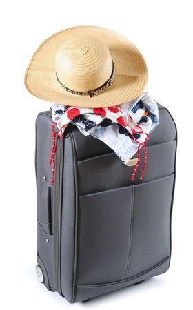 over packed: Borsa da viaggio con gli elementi spiaggia.