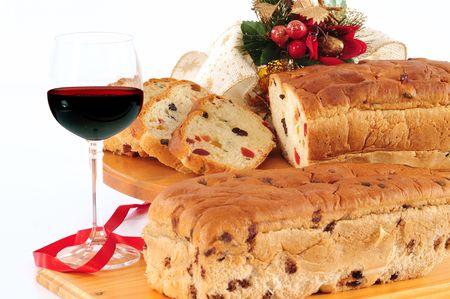 beverage display: Sweet bread and wine.