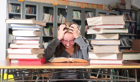 Studying for midterm exam. Stock Photo - 5630351