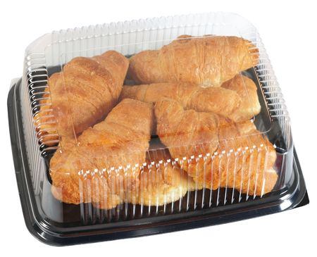 plastic container: Croissant packaging. Clipping path Stock Photo