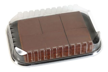 over packed: Envases Brownie. Foto de archivo