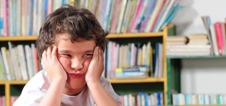 bored face: Upset student. Stock Photo