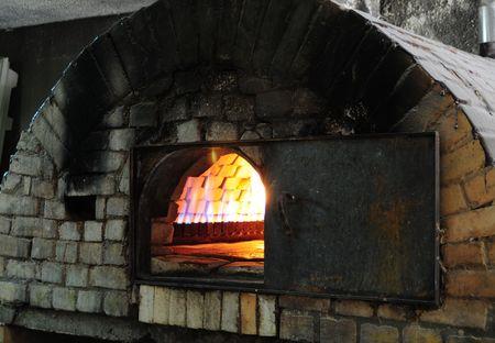 oven tray: Brick oven. Stock Photo