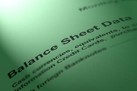 credit report: Balance sheet data. Stock Photo