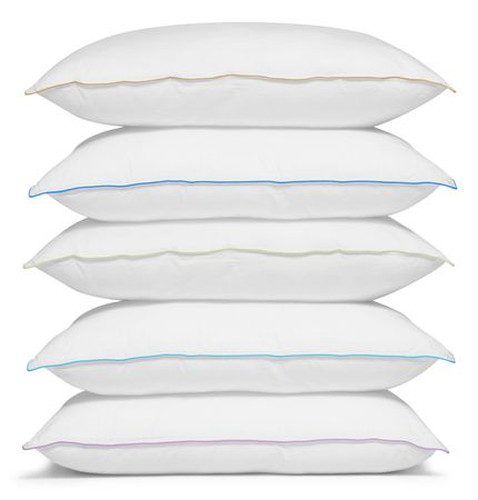 overlapped: Stack of pillows. Isolated