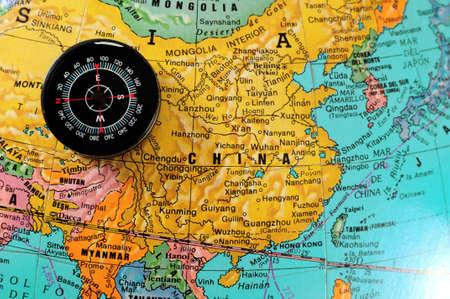 Chinese map: Br�jula en el mapa chino.