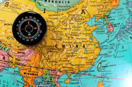 chinese map: Compass on chinese map.
