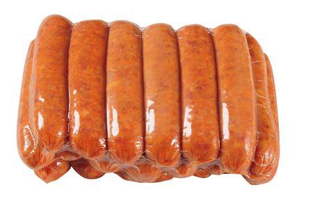 Emballage de saucisses. Isolé  Banque d'images