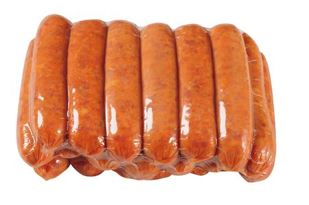 vacuuming: Sausage packaging. Isolated