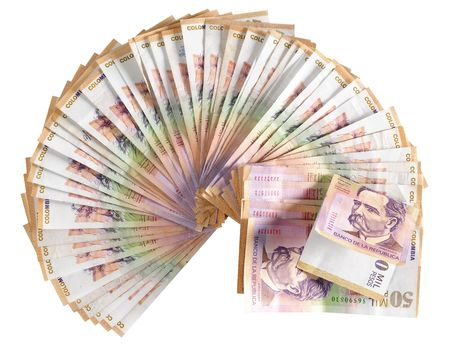 pesos: Colombian currency. Isolated Stock Photo