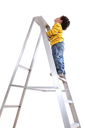 Climbing a ladder. Isolated photo