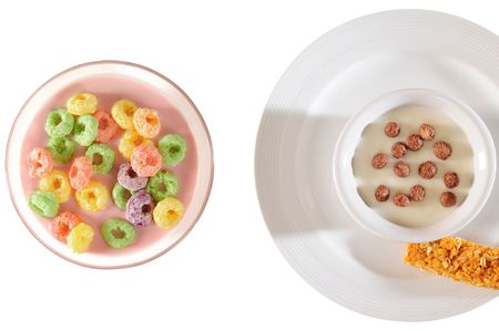 Cereal over white. photo