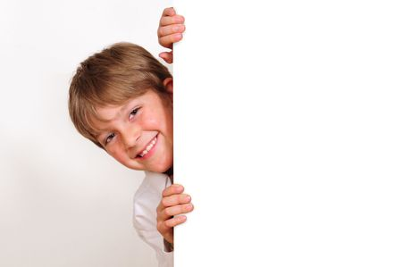 Child behind white board. Stock Photo - 6678939