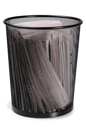 wastepaper basket: Wastepaper basket. Isolated Stock Photo