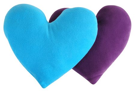 overlapped: Heart shape pillows. Isolated