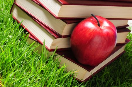 Books and apple on grass. Stock Photo - 7015930