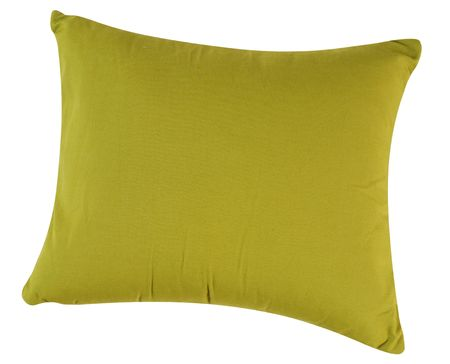 bed spreads: Green pillow. Isolated Stock Photo