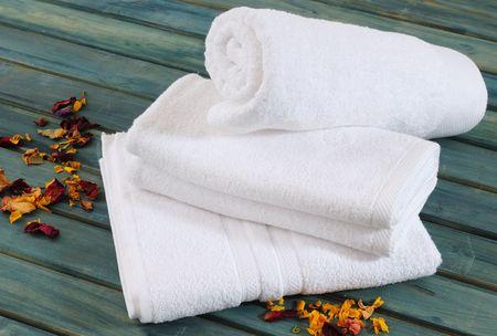 towels bath: White towels. Stock Photo