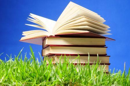 书在草地上。