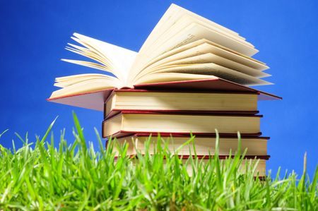 Books on grass. photo