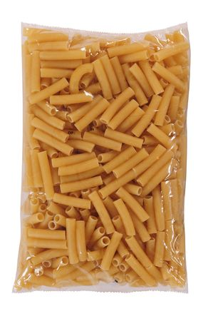 packed: Pasta packaging. Isolated