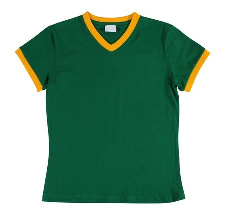 sports uniform: Green T-Shirt. Isolated