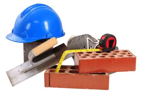 building tool: Construction objects. Isolated Stock Photo