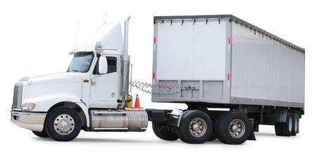 semi trailer: Cargo truck. Isolated Stock Photo