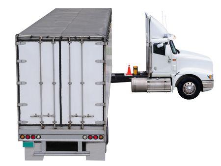 semitrailer: Cargo truck. Isolated Stock Photo