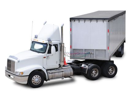 Cargo truck. Isolated Stock Photo