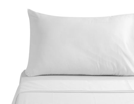 attended: White bedding. Isolated Stock Photo