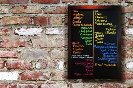 menue: Restaurent menue.