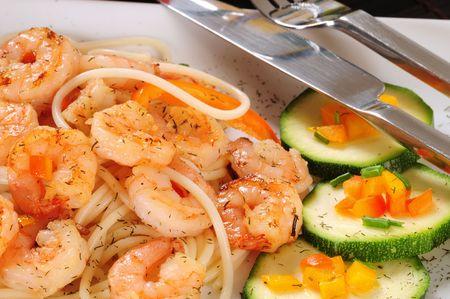 prepared shrimp: Prepared shrimp with pasta. Stock Photo
