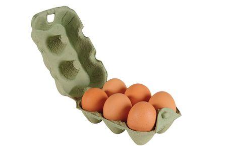 dozen: Half dozen eggs. Isolated Stock Photo