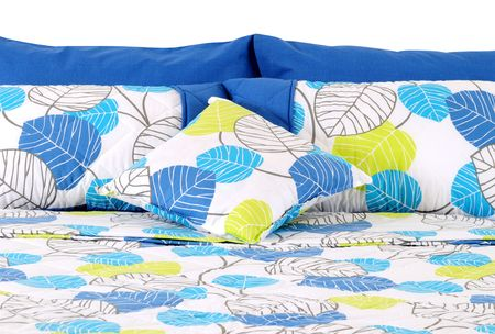 bed spreads: Blue bed spreads. Isolated