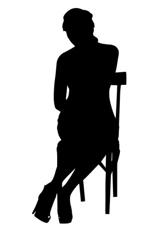 Silhouette of a woman Sitting. Isolated photo
