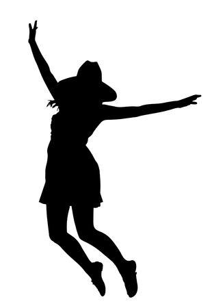 Girl silhouette over white. photo