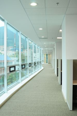 Long corridor against offices. photo
