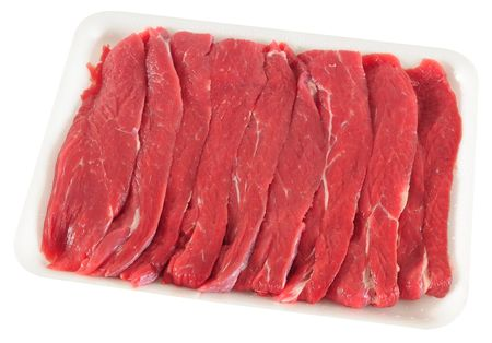 Meat packaging. Isolated photo