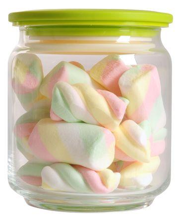 marshmallows: Marshmallows jar. Isolated Stock Photo
