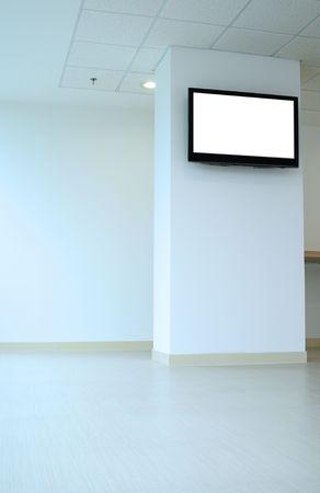 big screen tv: Empty lounge. Stock Photo
